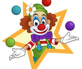 Festival cheerful clown illustration vector 03