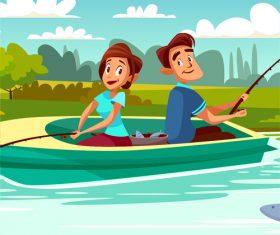 Fishing couple vector