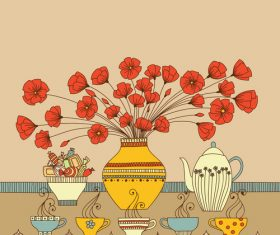 Floral tea cup with red flower vector