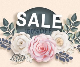 Flower card with sale template vector 01