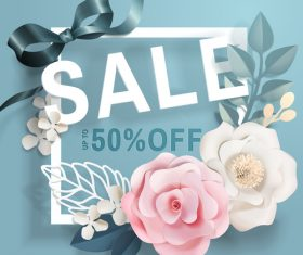 Flower card with sale template vector 02