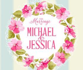 Flower hibiscus invitation card vector