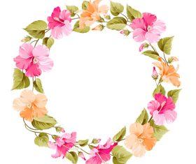 Flower hibiscus wreath vector