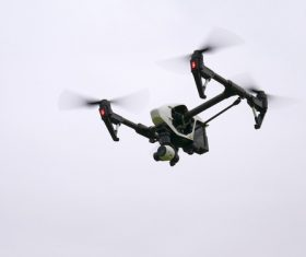 Four-axis remote drone in the air Stock Photo 06