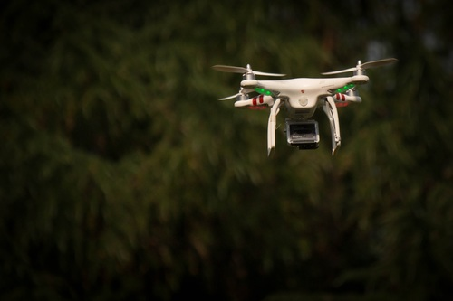 Four axis remote drone in the air Stock Photo 08