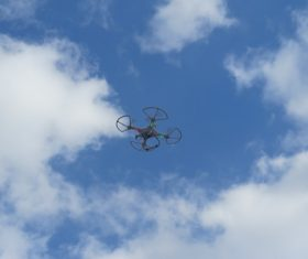 Four-axis remote drone in the air Stock Photo 09