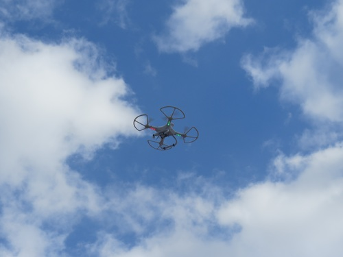 Four axis remote drone in the air Stock Photo 09