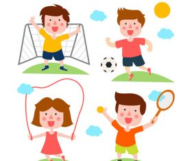 Four cartoon sports characters vector