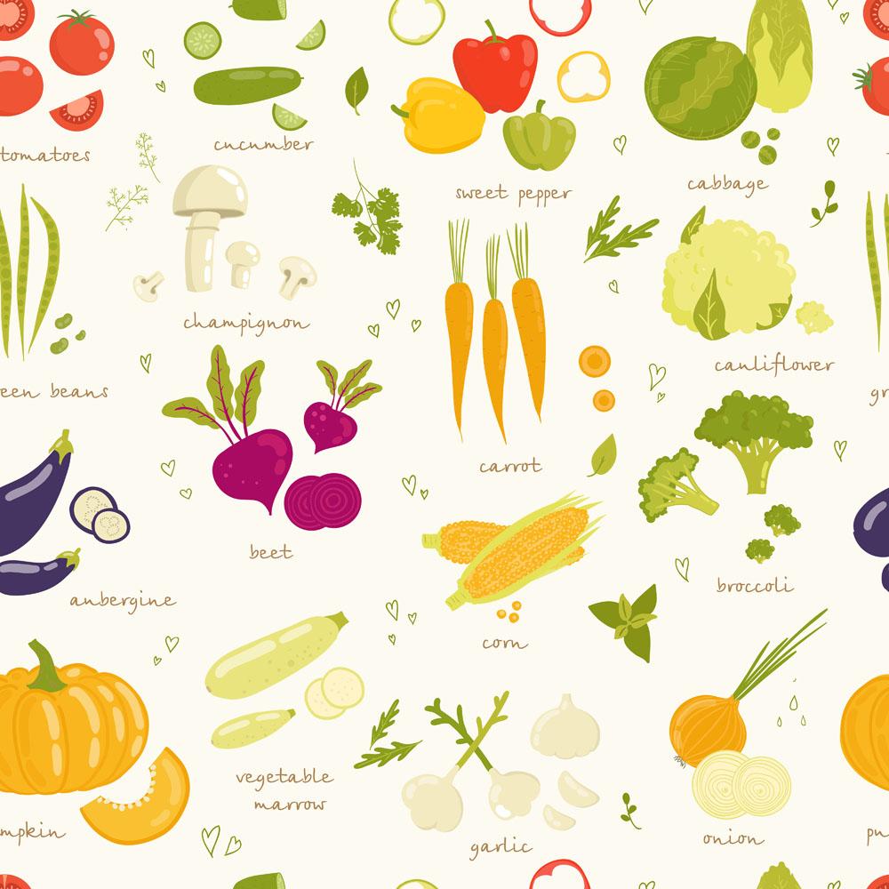 Fresh vegetables vector background illustration 02