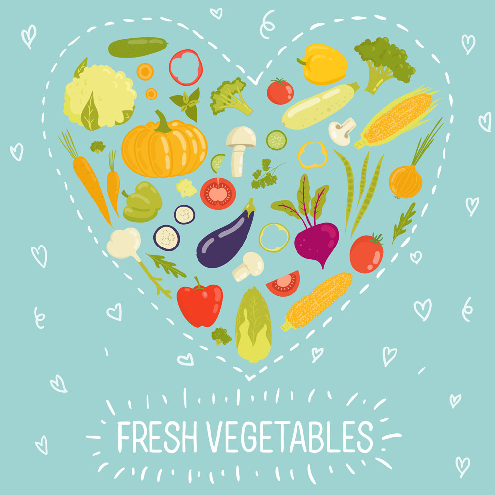Fresh vegetables vector background illustration 03