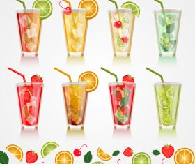 Fruit drink with glass cup vector
