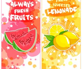Fruit natural juice banners watercolor vector 01