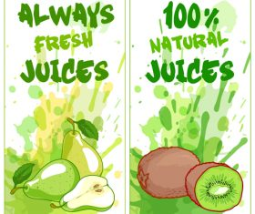 Fruit natural juice banners watercolor vector 03