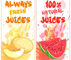 Fruit natural juice banners watercolor vector 04