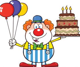 Funny clown with birthday cake vector vector