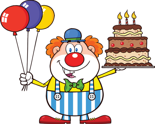 Funny Clown With Birthday Cake Vector Vector Free Download