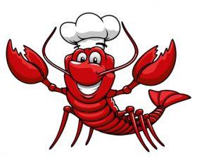 Funny lobster chef vectors material 01
