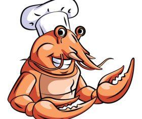 Funny lobster chef vectors material 02