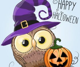 Funny owls and pumpkins halloween card vector 01