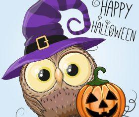 Funny owls and pumpkins halloween card vector 01
