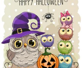 Funny owls and pumpkins halloween card vector 02