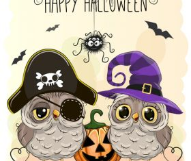 Funny owls and pumpkins halloween card vector 03