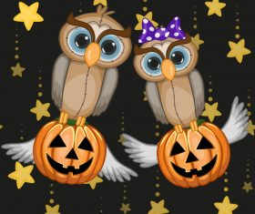 Funny owls and pumpkins halloween card vector 04