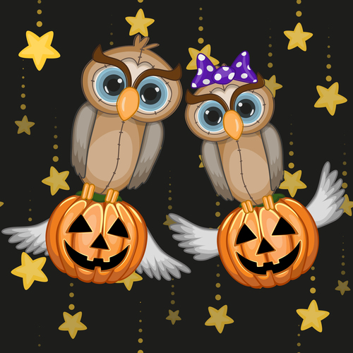 Funny owls and pumpkins halloween card vector 04