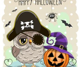 Funny owls and pumpkins halloween card vector 05