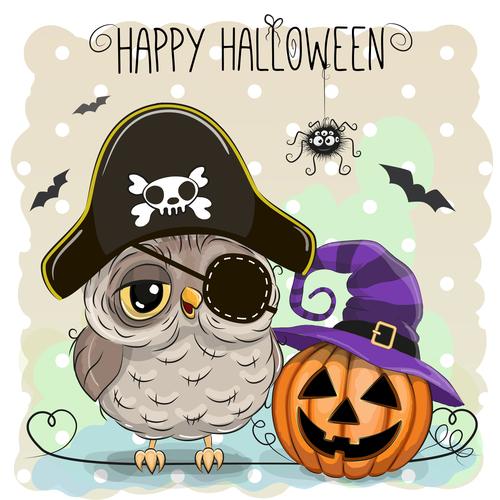 Funny owls and pumpkins halloween card vector 05
