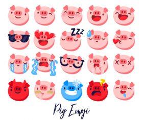 Funny pig emoji icons set
