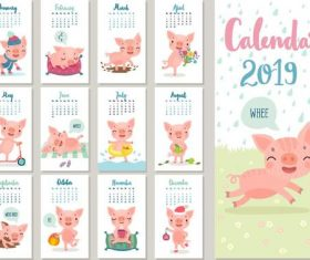 Funny pig with 2019 calender template vectot 02