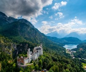 German Neuschwanstein Castle scenery Stock Photo 01