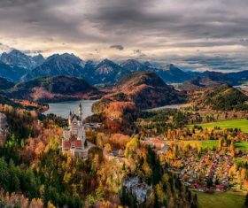 German Neuschwanstein Castle scenery Stock Photo 02