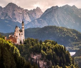 German Neuschwanstein Castle scenery Stock Photo 03