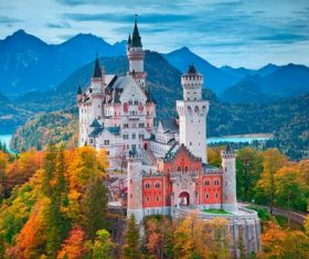 German Neuschwanstein Castle scenery Stock Photo 04