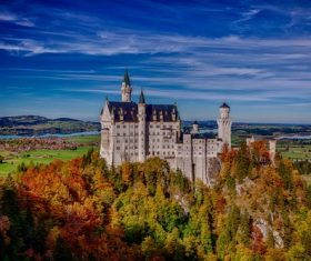 German Neuschwanstein Castle scenery Stock Photo 06