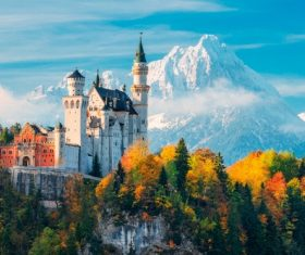 German Neuschwanstein Castle scenery Stock Photo 07