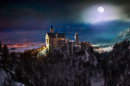 German Neuschwanstein Castle under the night Stock Photo