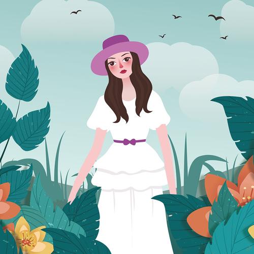 Girl illustration material vector