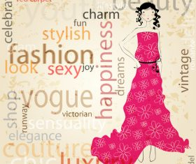 Girl with fashion background design vector