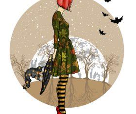 Girl with halloween vectors