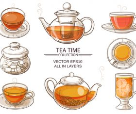 Glass Tea Sets vector