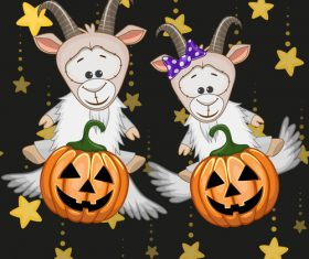 Goat with halloween card vector