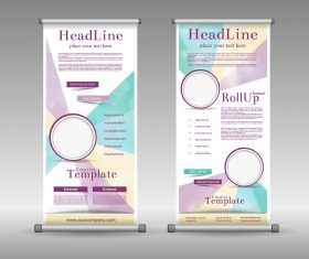 Gold line display board design vector material 02