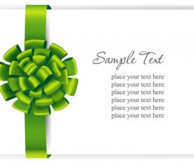 Green ribbons bows with white cards vector 01