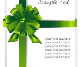 Green ribbons bows with white cards vector 02