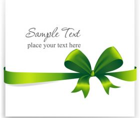 Green ribbons bows with white cards vector 03