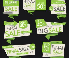 Green sale banners and labels vector set