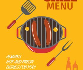 Grill BBQ menu template vector